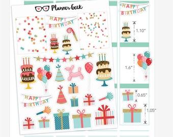 Birthday planner stickers - glossy decorative planner stickers