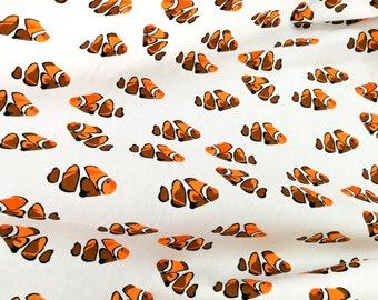 Quilt Cotton Fabric Orange Clownfish Nemo Pattern in Ivory Fat Quarter Half Yard or Yard