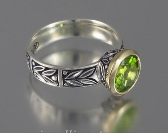 LAUREL CROWN silver &14K gold ring with Peridot
