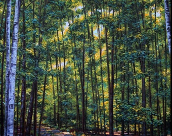 """Landscape Art Print - """"North Woods Afternoon"""", Limited Edition Giclee Print on Fine Art Paper, 16"""" x 12"""""""