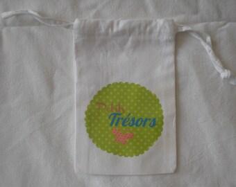 "Printed white cloth bag ""treasures"""