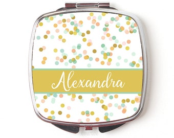 Gifts for bridesmaids - Gold Coral Mint Wedding Gifts for Bridesmaids - Compact Makeup Mirror - Personalized Bridesmaids Gifts