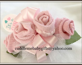 Baby Shower Baby Girl Wrist or Pin-on Baby Sock Corsage with Rattle Keepsake