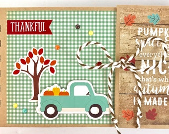 Premade Fall Scrapbook Mini Album Autumn Leaves Thankful Grateful OOAK