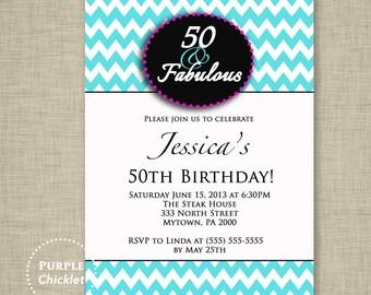 50th 60th 70th Birthday Invitation 50 and Fabulous Invite Pink Aqua Blue Chevron Invite Adult Party Invite Printable JPG File Invite (41)