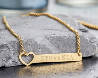 Stainless Steel Necklace with Pendant - Heart - Customised with Name of Your Choice - Gold, Silver or Bronze - Gift for Women