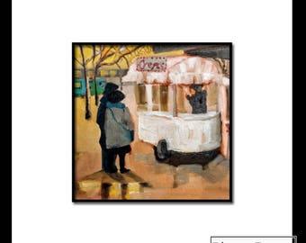 Free Shipping Original Oil Painting 8 x 10, Crepes in Paris, cafe, Paris, Eiffel Tower, winter, park, cityscape