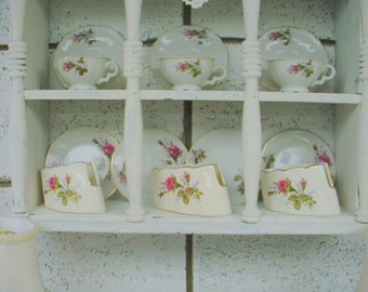 Silverware Server Holder China Gold Rimmed Roses Cottage Prairie Farmhouse Chic