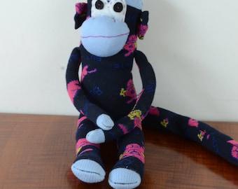 Navy and pink sock monkey, dog print sock monkey