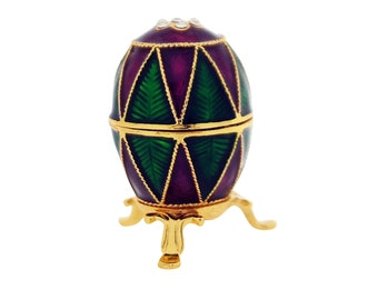 Purple and Green Diamante Faberge Style Egg Trinket Box, Decorated Egg Collectable Ornament - 6.5cm