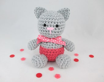 Crochet Baby Rattle, Crochet Rattle, Amigurumi Cat, New Baby Gift, Cotton Kitten Plush Rattle by CROriginals