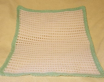 Crochet Baby Blanket, White and Lime Green