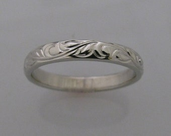 Custom 4mm wide 14k palladium/white gold hand engraved band