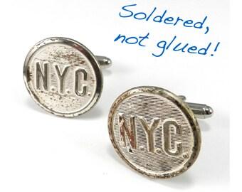 Steampunk Cufflinks, Distressed New York Railroad Cuff Links, Soldered Antique NYC Steel Uniform Buttons New York Central Railway