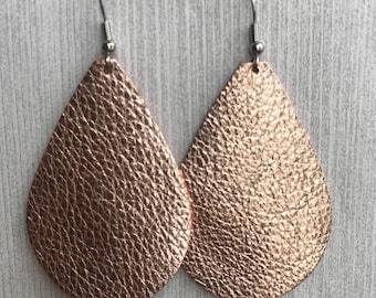 Rose Gold Metallic - Leather Teardrop Earrings