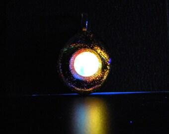 DICHROIC GLASS Glow in the Dark Pendant Handmade Glow Jewelry (GLO8)