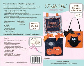 Halloween In The Hoop Quilt Block Projects by Pickle Pie Designs