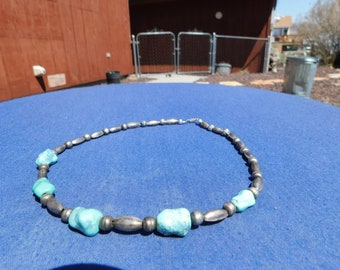 Men's turquoise and silver chocker