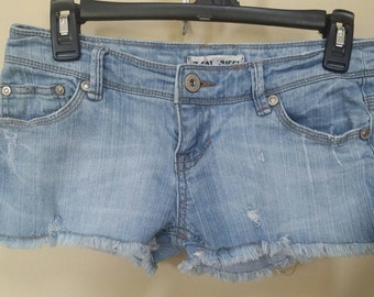 Jean destroyed shorts, Size 3 Upcylced/Altered (Waist 28 inch)  // Distressed Shorts // Size 3 Shorts //  Upcycled Shorts //