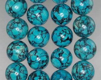 16mm Blue Turquoise Gemstone Round 16mm Loose Beads 8 inch Half Strand (90186698-770)