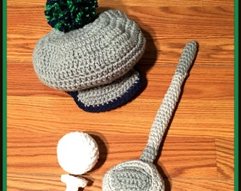 Crochet Baby Golfer Hat, Club, Ball and Tee ONLY