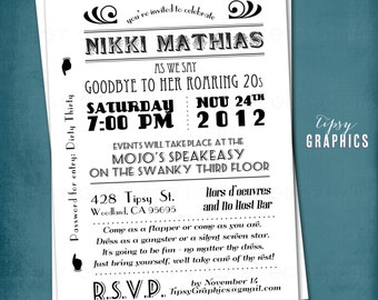 1920s Surprise Party Invitation. Art Deco. Goodbye to the Roaring 20s or 30s. by Tipsy Graphics