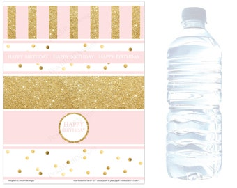 Birthday water bottle labels (INSTANT DOWNLOAD) - Pink and gold Birthday decorations - Gold water bottle labels BI001