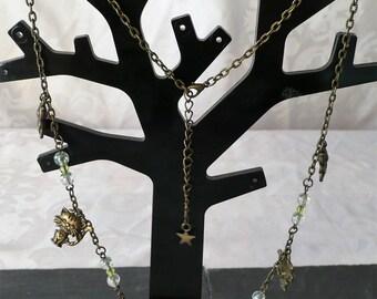 Butterfly, cat, bear 56.5 cm bronze necklace