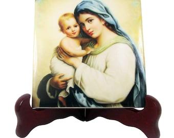 Catholic gift idea Madonna and Child - religious art - catholic icon on ceramic tile - handmade in Italy - virgin mary art - Hans Zatzka