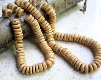 Wood Beads Rondelle Coconut Palm Natural 10x3mm Flat Disc Round Coin 3 Strands