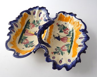Vintage French Quimper Server Hand Painted Faience