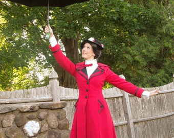 Mary Poppins Inspired Red Costume Coat - Custom Made, Broadway Mary Poppins Costume, Cosplay, Theater Costume, Mary Poppins Red Jacket
