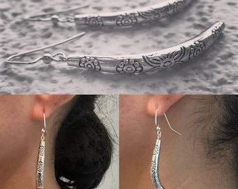 Textured Silver Boomerang Earrings
