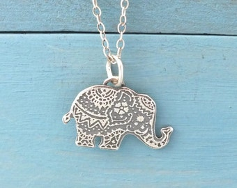 Elephant Necklace, Sterling Silver Etched Elephant Necklace, 925 Elephant Pendant, Gift For Elephant Lover, Elephant Gift, Elephant Jewelry