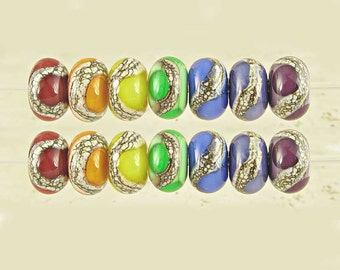 Double Rainbow Glass Lampwork Bead Set of 14 with Organic Web Small 11x7mm