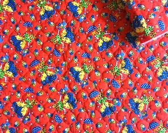 Vintage Fabric 70's Red, Quilted, Floral Cotton, Polyester, Material, Textiles