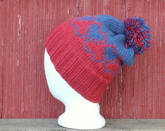 custom color hat with pompom hat wool, hand knit wool hat custom woman's hat. hand knitted hat choose your colors red hat /made to order
