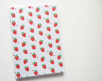 Strawberry Blank Recipe Book- Cookbook - Blank A5 Notebooks - Softcover Journal