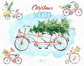 Christmas Bicycles. Watercolor holiday clipart, vintage, snowman, overlay, dog, retro, gifts, Christmas tree, xmas, merry, holly, greetings