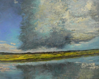 "16x20 Oil Landscape, Marsh Landscape, Palette Knife Art,  Impressionist art, ""Storm Moves Over the Marsh"""