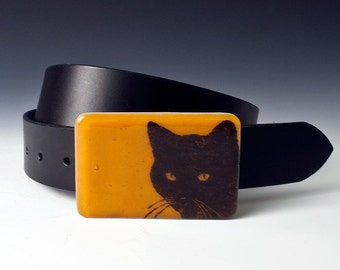 Fused Glass Black Cat Buckle