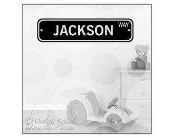 Personalized Vinyl Decal STREET SIGN, Kid's Room Wall Art, Dorm Decor, Playroom Decor, Kid's Door Sign S-108