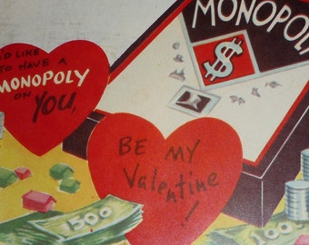 Monopoly Game Vintage 1950s Valentine - I'd Like to Have a Monopoly on You