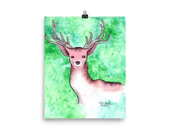 Stag Watercolor - Matte Print