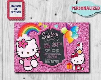 Hello Kitty Invitation,Hello Kitty Birthday invitation,Hello Kitty Birthday,Hello Kitty Party,Hello Kitty Invite,Hello Kitty Card,Kitty SL