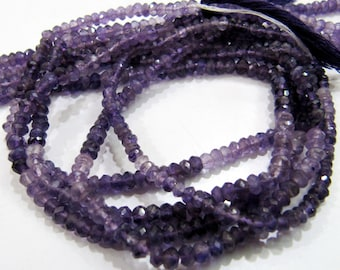 Natural African Amethyst Beads 3mm to 4mm/ Shaded Color/ Multi Color Amethyst Rondelle faceted beads , Strand 13 inch long