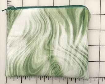 Zippered pouch - green swirls