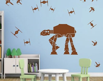 At-At Droid Wall Decals space ships Decals At At Star Wars wall decals At At Walker Star Wars Wall Decals for kids room Boy's Room kik2727