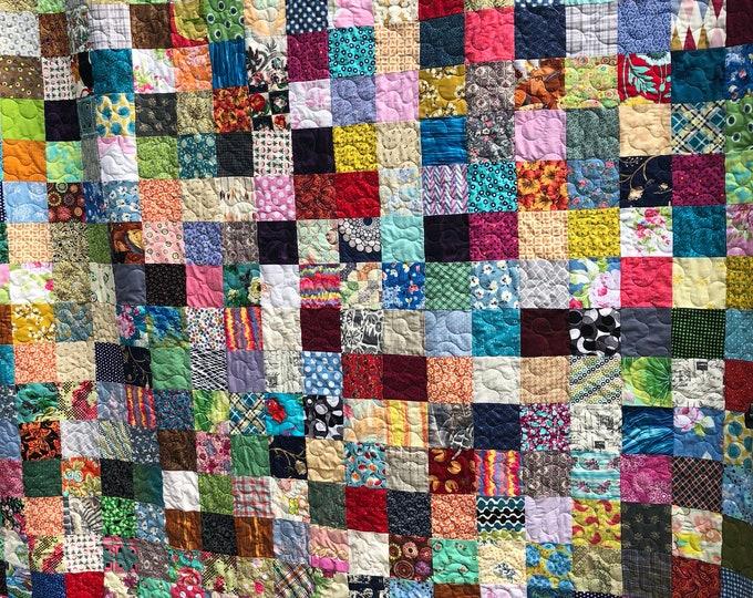 Spring Colors Queen Quilt - King Quilt - Patchwork Quilt - Reversible Quilt
