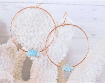 Raw Amazonite Earrings, Rough Amazonite Earrings, Raw Gemstone Earrings, Rough Gemstone Earrings, Gold Amazonite Earrings, Gemstone Hoops